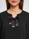 Блузка с бантом и рукавом-колоколом oodji #SECTION_NAME# (черный), 11401256/45994/2900N - вид 4