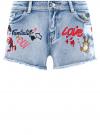 Шорты джинсовые с рисунком и потертостями oodji #SECTION_NAME# (синий), 12807072/45254/7519K
