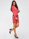 Платье трикотажное с ремнем oodji для женщины (розовый), 14008010/15640/4300N