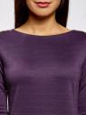 Платье с металлическим декором на плечах oodji #SECTION_NAME# (фиолетовый), 14001105-3/18610/8800N - вид 4