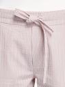 Брюки хлопковые на эластичном поясе oodji для женщины (розовый), 11703098/42583/3710S