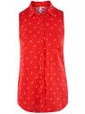 Топ вискозный с нагрудным карманом oodji для женщины (красный), 11411108B/26346/4510Q