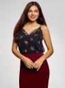 Топ в бельевом стиле с кружевной отделкой oodji для женщины (черный), 14911004-2B/17358/2919F