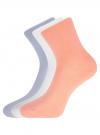 Комплект из трех пар хлопковых носков oodji #SECTION_NAME# (разноцветный), 57102804T3/48022/30 - вид 2