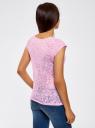 Футболка из ткани деворе oodji для женщины (фиолетовый), 24707002/45516/8000F