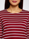 Платье трикотажное в полоску oodji для женщины (красный), 14001162-1/43603/4910S - вид 4