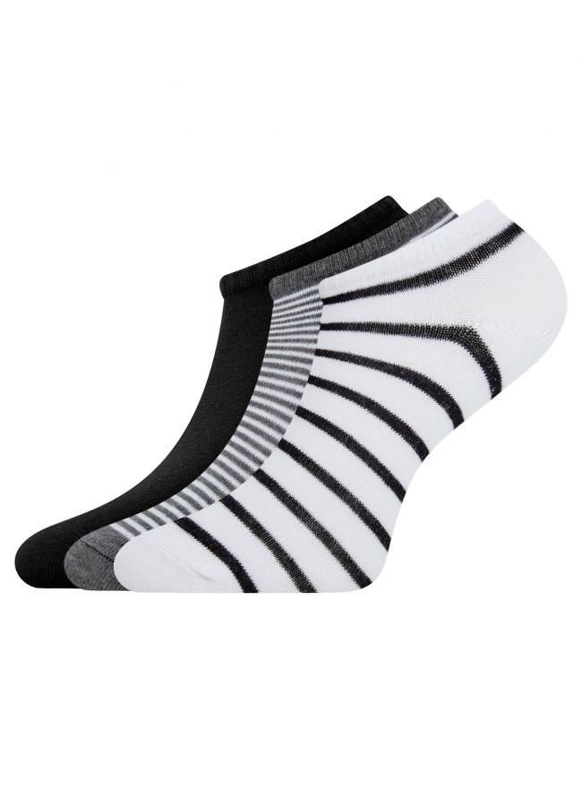 Комплект из трех пар укороченных носков oodji для женщины (разноцветный), 57102433T3/47469/19S4S