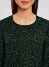 Блузка свободного силуэта с вырезом-капелькой на спине oodji #SECTION_NAME# (зеленый), 11411129/45192/6D29A - вид 4