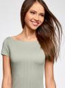 Платье из фактурной ткани с вырезом-лодочкой oodji #SECTION_NAME# (зеленый), 14001117-12B/42588/6000N - вид 4