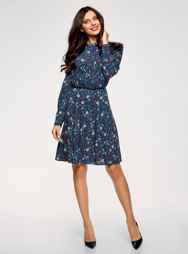 Платье вискозное с ремнем oodji #SECTION_NAME# (синий), 21912001-2B/26346/7940F