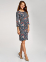 Платье трикотажное с вырезом-капелькой на спине oodji для женщины (черный), 24001070-5/15640/2945F