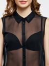 Топ из струящейся ткани с рубашечным воротником oodji для женщины (черный), 14903001B/42816/2900N - вид 4