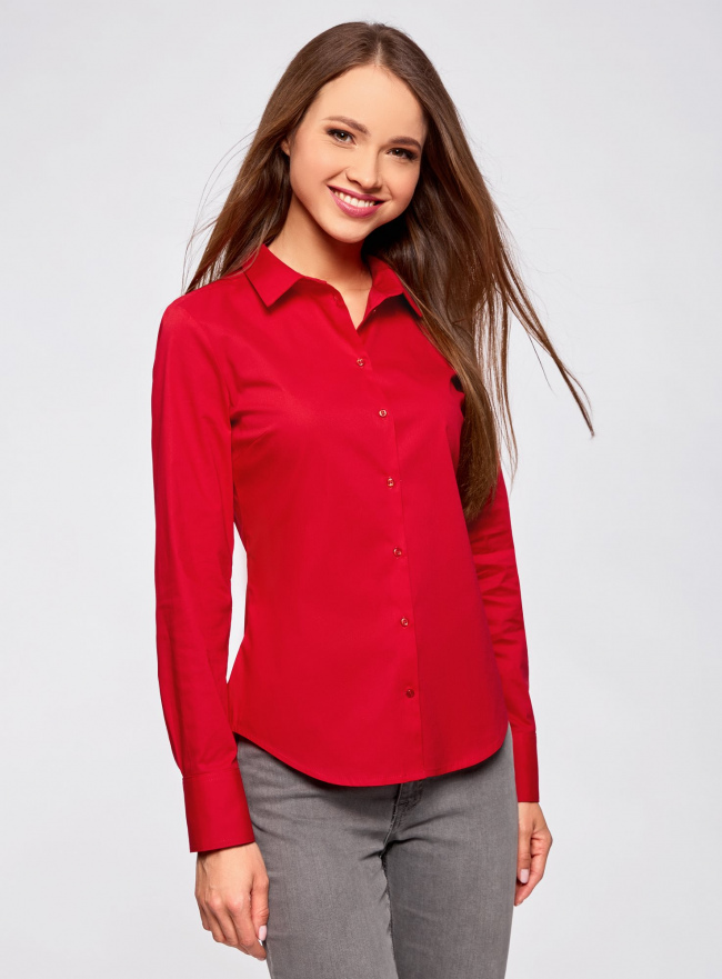 Рубашка базовая из хлопка oodji #SECTION_NAME# (красный), 11403227B/14885/4500N
