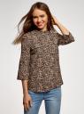 Блузка вискозная с регулировкой длины рукава oodji для женщины (коричневый), 11403225-9B/48458/3729A