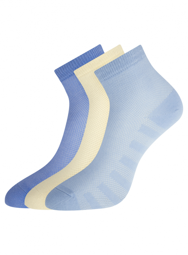 Комплект из трех пар хлопковых носков oodji для женщины (разноцветный), 57102711T3/48022/9