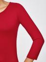 Платье трикотажное с вырезом-капелькой на спине oodji #SECTION_NAME# (красный), 24001070-5/15640/4500N - вид 5