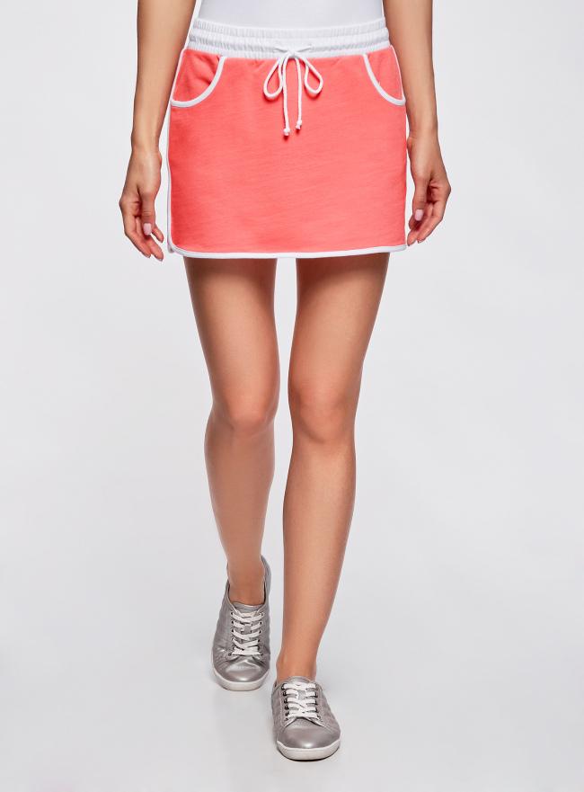 Юбка трикотажная на эластичном поясе oodji для женщины (розовый), 14101098B/46155/4310B