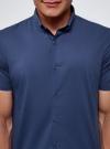 Рубашка базовая с коротким рукавом oodji для мужчины (синий), 3B240000M/34146N/7500N - вид 4