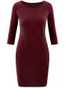 Платье трикотажное из фактурной ткани oodji #SECTION_NAME# (красный), 24001100-6/45351/4901N