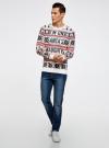 Джемпер прямого силуэта с рождественским узором oodji #SECTION_NAME# (разноцветный), 4L110044M/25365N/4579J - вид 6