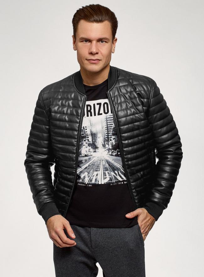 Куртка стеганая из искусственной кожи oodji #SECTION_NAME# (черный), 1L511053M-1/47397N/2900N