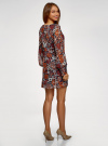 Платье прямого силуэта из струящейся ткани oodji #SECTION_NAME# (коричневый), 11900150-13/13632/3137F - вид 3
