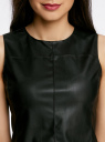 Жилет из искусственной кожи на молнии oodji для женщины (черный), 18C00001/45085/2900N