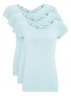 Комплект футболок с вырезом-капелькой на спине (3 штуки) oodji #SECTION_NAME# (синий), 14701026T3/46147/7000N