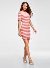 Платье прилегающего силуэта в рубчик oodji #SECTION_NAME# (розовый), 14011012/45210/4310S - вид 6