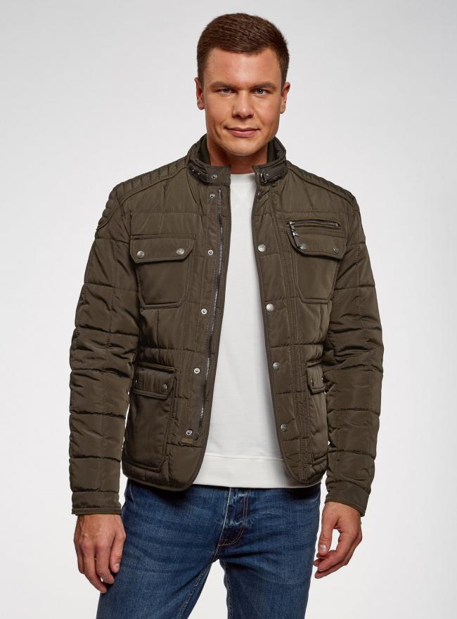 Куртка стеганая с накладными карманами oodji #SECTION_NAME# (коричневый), 1L111044M/39877N/3900N