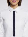 Рубашка базовая прилегающего силуэта oodji #SECTION_NAME# (белый), 11406016/42468/1000N - вид 4