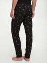 Брюки пижамные принтованные oodji для мужчины (черный), 7L400101I-3/47885N/2930O