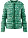 Куртка стеганая с круглым вырезом oodji #SECTION_NAME# (зеленый), 10204040-1B/42257/6D41F