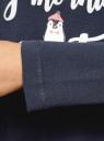 Футболка с длинным рукавом и принтом oodji для женщины (синий), 59811018-1/47910/7991P