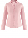 Рубашка приталенная с V-образным вырезом oodji #SECTION_NAME# (розовый), 11402092B/42083/4000N