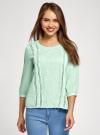 Блузка прямого силуэта с вышивкой oodji #SECTION_NAME# (зеленый), 11411094/45403/6500N - вид 2