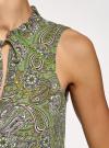 Блузка свободного силуэта без рукавов oodji #SECTION_NAME# (зеленый), 14901420/36215/6280E - вид 5