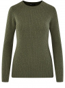 Джемпер фактурной вязки в мелкую косичку oodji для женщины (зеленый), 73812624-2B/49296/6600M