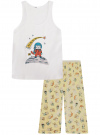 "Пижама с брюками и принтом ""кошка"" oodji #SECTION_NAME# (белый), 56001076-2/43112/1050P"