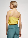 Топ из струящейся ткани на тонких бретелях oodji для женщины (желтый), 14911016/48728/5100N