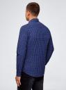 Рубашка хлопковая в клетку oodji #SECTION_NAME# (синий), 3L310168M/48837N/7975C - вид 3