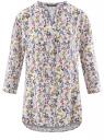 Блузка прямого силуэта с рукавом 3/4 oodji #SECTION_NAME# (слоновая кость), 11411188/26346/3069F