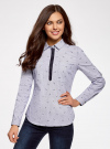 Рубашка принтованная с контрастной отделкой oodji #SECTION_NAME# (белый), 11403222-1/45202/1079O - вид 2