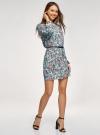 Платье из шифона с ремнем oodji для женщины (бирюзовый), 11900150-5B/32823/7037F - вид 6