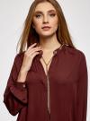Блузка из струящейся ткани с металлическим украшением oodji #SECTION_NAME# (коричневый), 21414004/45906/4900N - вид 4