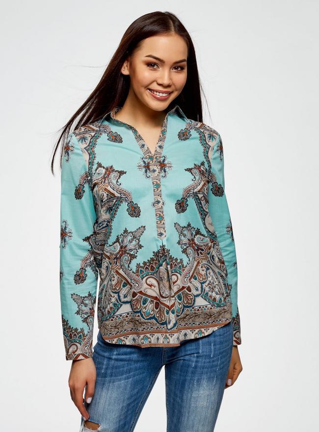 Блузка принтованная из легкого хлопка oodji #SECTION_NAME# (бирюзовый), 21411144-1/12836/7335E