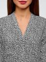 Блузка принтованная из вискозы oodji #SECTION_NAME# (черный), 11411049-1/24681/2910F - вид 4