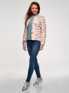 Куртка стеганая с круглым вырезом oodji для женщины (слоновая кость), 10204040-1B/42257/3041U - вид 6