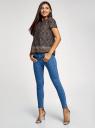 Блузка вискозная свободного силуэта oodji для женщины (черный), 21411119M/26346/2945E