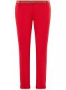 Брюки-чиносы с ремнем oodji для женщины (красный), 11706190-5B/32887/4503N